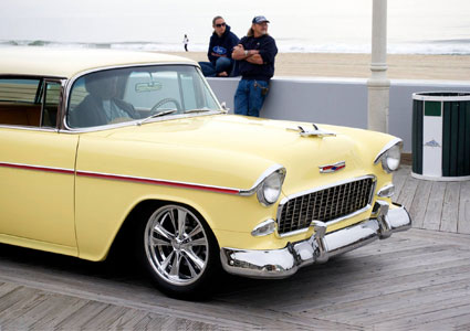 classic car from Cruisin Ocean City event driving on the boardwalk