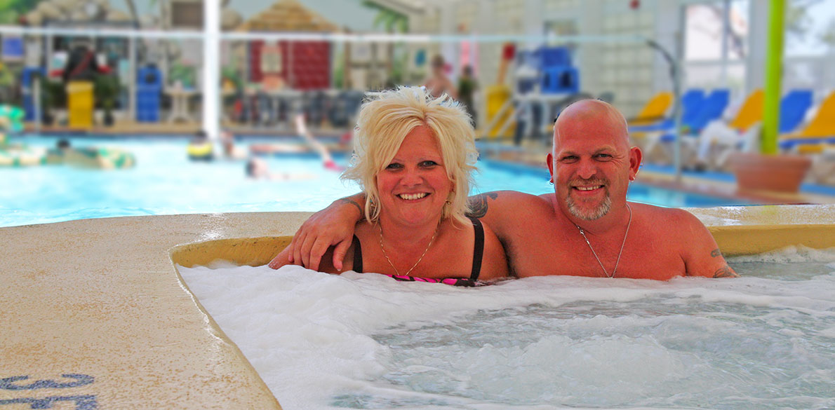 Parents in hot tub