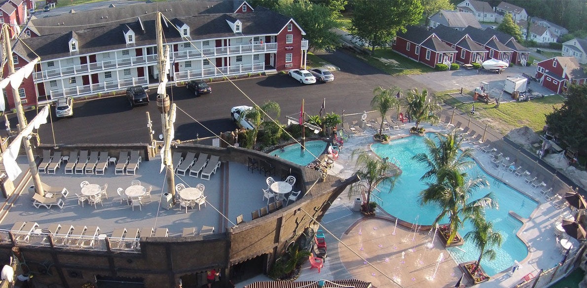 Overhead view of pirate ship and pool